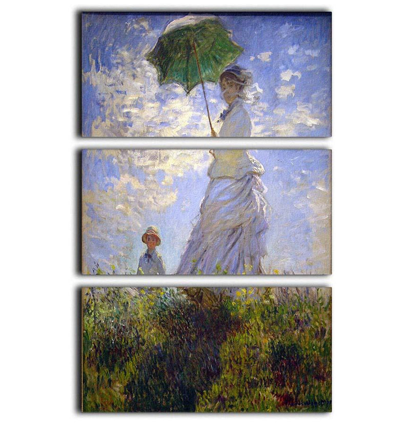 Monet Umbrella 3 Split Panel Canvas Print - Canvas Art Rocks - 1