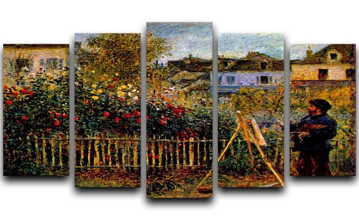 Monet painting in his garden in Argenteuil 5 Split Panel Canvas