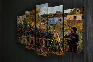 Monet painting in his garden in Argenteuil 5 Split Panel Canvas - Canvas Art Rocks - 2