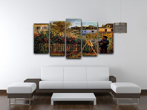 Monet painting in his garden in Argenteuil 5 Split Panel Canvas - Canvas Art Rocks - 3