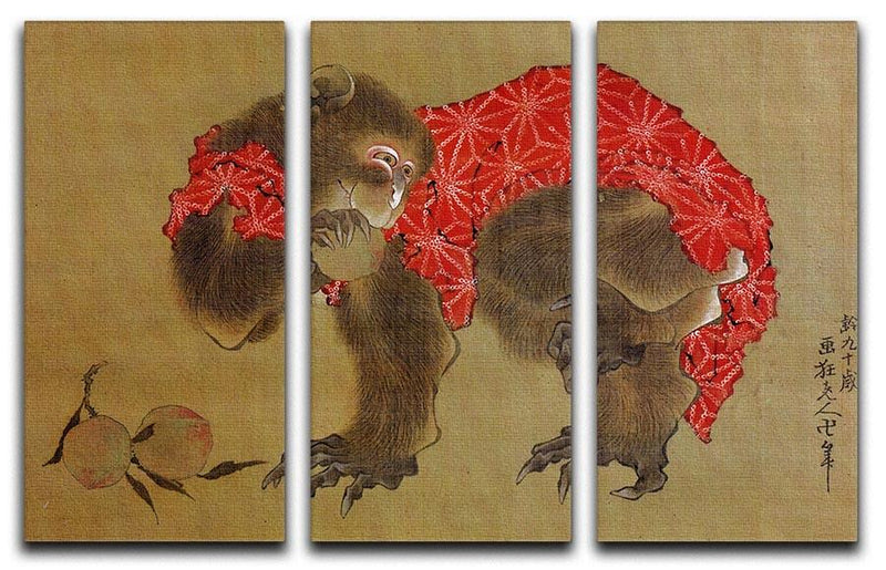 Monkey by Hokusai 3 Split Panel Canvas Print - Canvas Art Rocks - 1