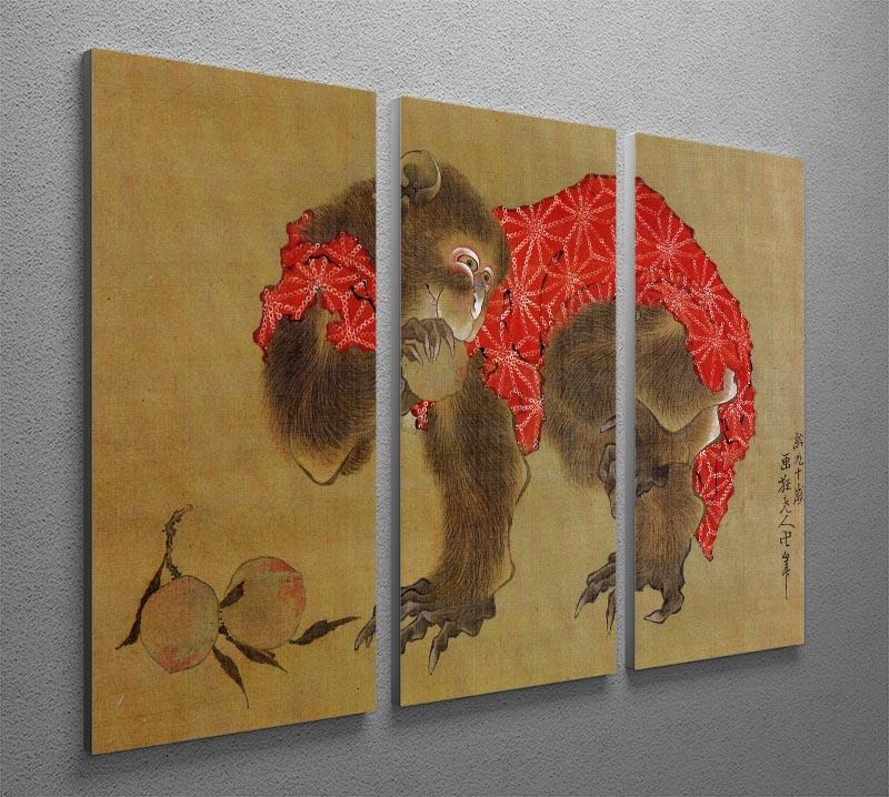 Monkey by Hokusai 3 Split Panel Canvas Print - Canvas Art Rocks - 2