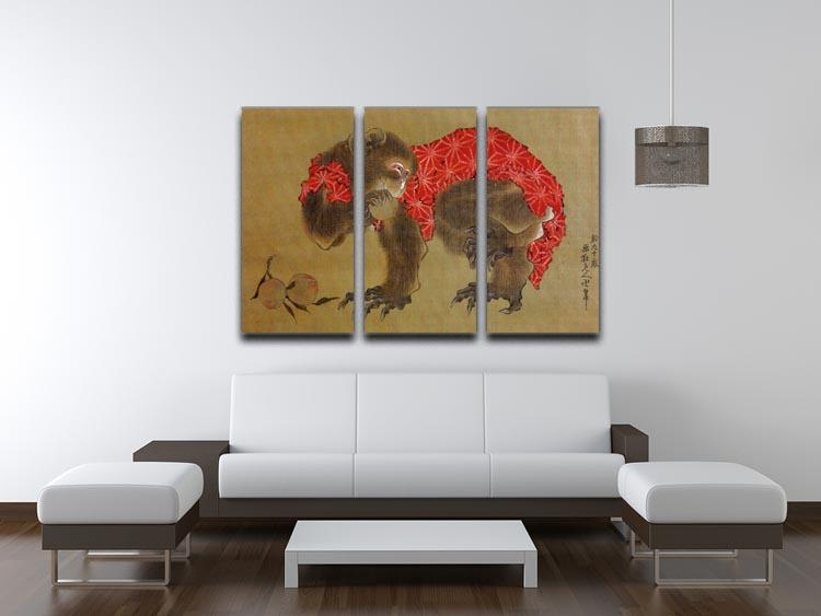Monkey by Hokusai 3 Split Panel Canvas Print - Canvas Art Rocks - 3