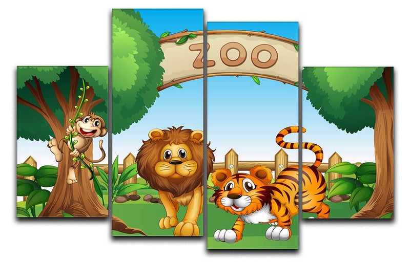 Monkey lion and a tiger at Zoo 4 Split Panel Canvas  - Canvas Art Rocks - 1
