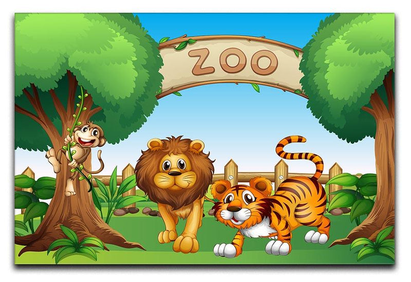 Monkey lion and a tiger at Zoo Canvas Print or Poster  - Canvas Art Rocks - 1