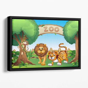 Monkey lion and a tiger at Zoo Floating Framed Canvas