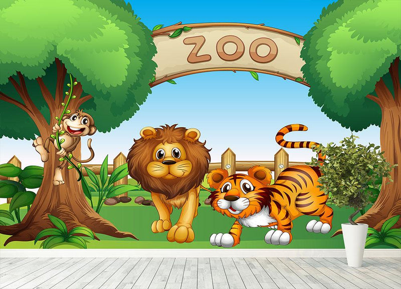 Monkey lion and a tiger at Zoo Wall Mural Wallpaper - Canvas Art Rocks - 4