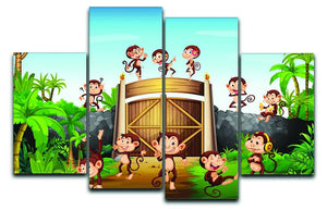 Monkeys having fun at the gate 4 Split Panel Canvas  - Canvas Art Rocks - 1