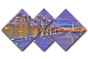 Monument at sunrise 4 Square Multi Panel Canvas  - Canvas Art Rocks - 1