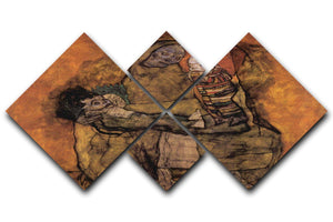 Mother with two children by Egon Schiele 4 Square Multi Panel Canvas - Canvas Art Rocks - 1