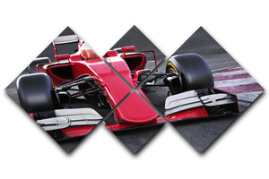 Motor sports race car 4 Square Multi Panel Canvas  - Canvas Art Rocks - 1