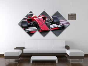 Motor sports race car 4 Square Multi Panel Canvas  - Canvas Art Rocks - 3