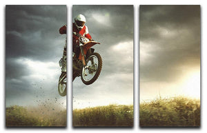 Motorbike jumps in the air 3 Split Panel Canvas Print - Canvas Art Rocks - 1