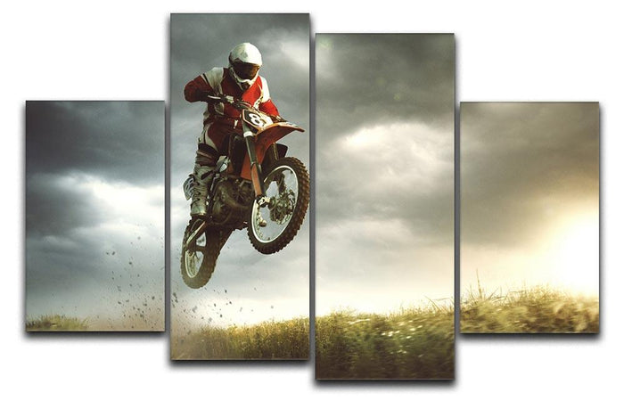 Motorbike jumps in the air 4 Split Panel Canvas