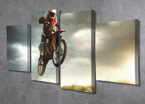 Motorbike jumps in the air 4 Split Panel Canvas  - Canvas Art Rocks - 2