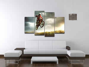 Motorbike jumps in the air 4 Split Panel Canvas  - Canvas Art Rocks - 3