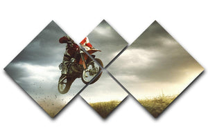 Motorbike jumps in the air 4 Square Multi Panel Canvas  - Canvas Art Rocks - 1