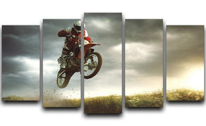 Motorbike jumps in the air 5 Split Panel Canvas  - Canvas Art Rocks - 1