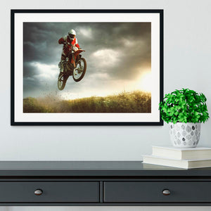 Motorbike jumps in the air Framed Print - Canvas Art Rocks - 1