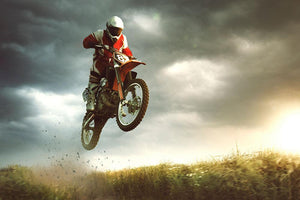 Motorbike jumps in the air Wall Mural Wallpaper - Canvas Art Rocks - 1