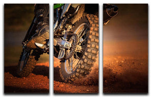 Motorbike on dirt track 3 Split Panel Canvas Print - Canvas Art Rocks - 1