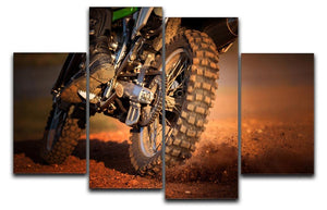 Motorbike on dirt track 4 Split Panel Canvas  - Canvas Art Rocks - 1