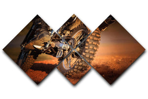 Motorbike on dirt track 4 Square Multi Panel Canvas  - Canvas Art Rocks - 1