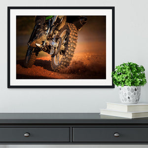 Motorbike on dirt track Framed Print - Canvas Art Rocks - 1