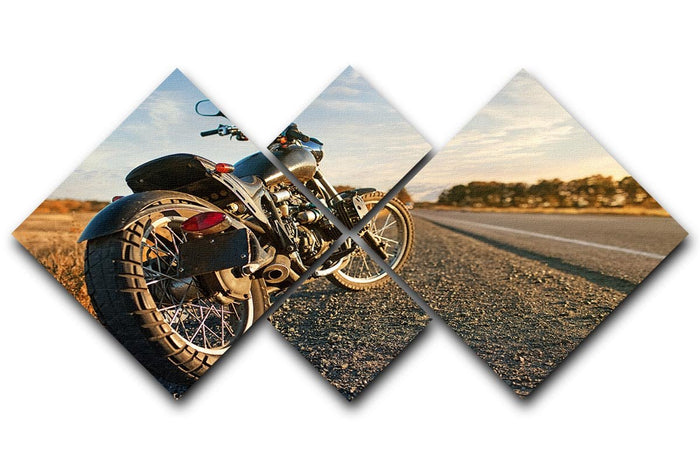 Motorbike under the clear sky 4 Square Multi Panel Canvas