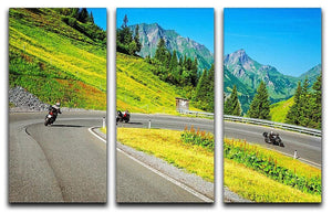Motorbikers group in the moutains 3 Split Panel Canvas Print - Canvas Art Rocks - 1