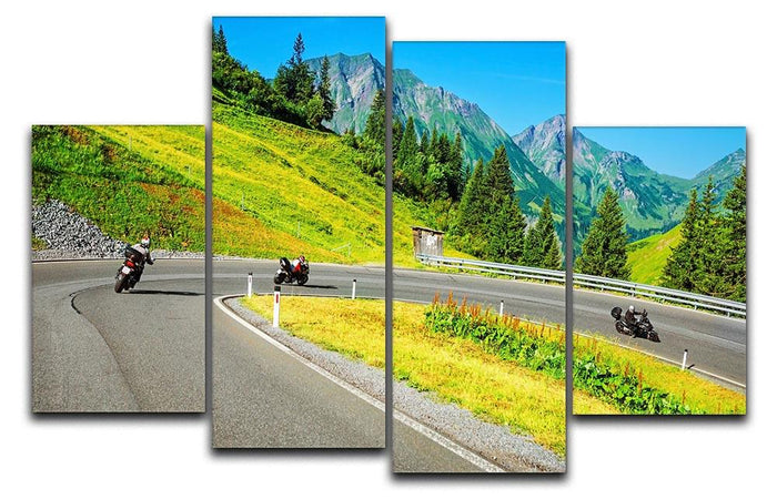 Motorbikers group in the moutains 4 Split Panel Canvas