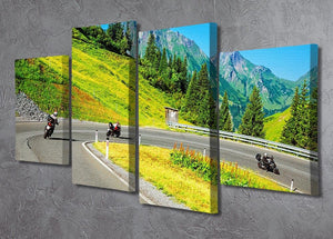 Motorbikers group in the moutains 4 Split Panel Canvas  - Canvas Art Rocks - 2