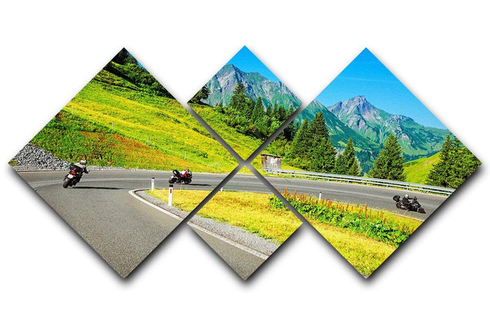 Motorbikers group in the moutains 4 Square Multi Panel Canvas