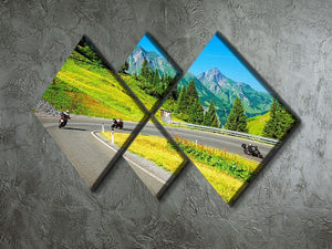 Motorbikers group in the moutains 4 Square Multi Panel Canvas  - Canvas Art Rocks - 2