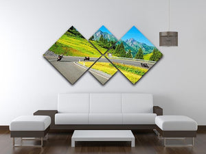 Motorbikers group in the moutains 4 Square Multi Panel Canvas  - Canvas Art Rocks - 3