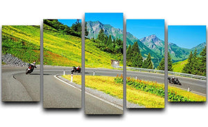 Motorbikers group in the moutains 5 Split Panel Canvas  - Canvas Art Rocks - 1