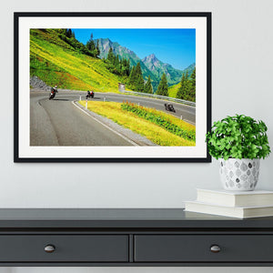 Motorbikers group in the moutains Framed Print - Canvas Art Rocks - 1