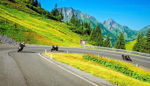 Motorbikers group in the moutains Wall Mural Wallpaper - Canvas Art Rocks - 1