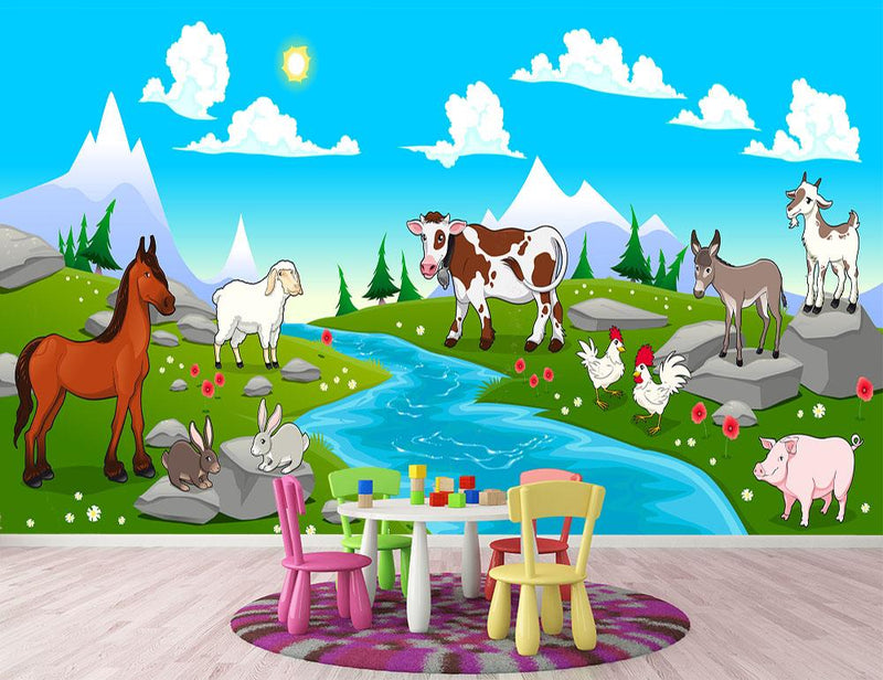 Mountain landscape and animals Wall Mural Wallpaper - Canvas Art Rocks - 1