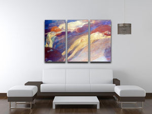 Moving water by Klimt 3 Split Panel Canvas Print - Canvas Art Rocks - 3