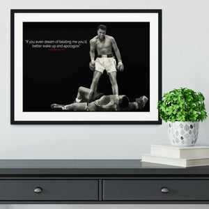 Muhammad Ali Dream Of Beating Me Framed Print - Canvas Art Rocks - 1