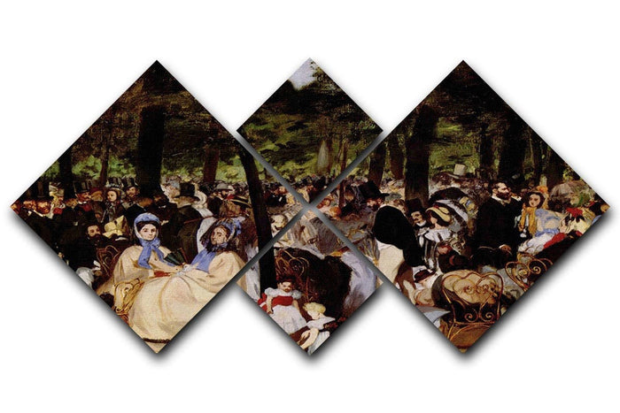 Music in Tuilerie Garden by Manet 4 Square Multi Panel Canvas