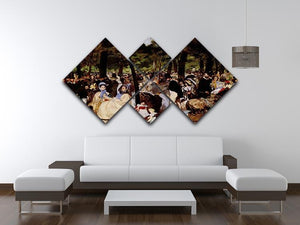 Music in Tuilerie Garden by Manet 4 Square Multi Panel Canvas - Canvas Art Rocks - 3