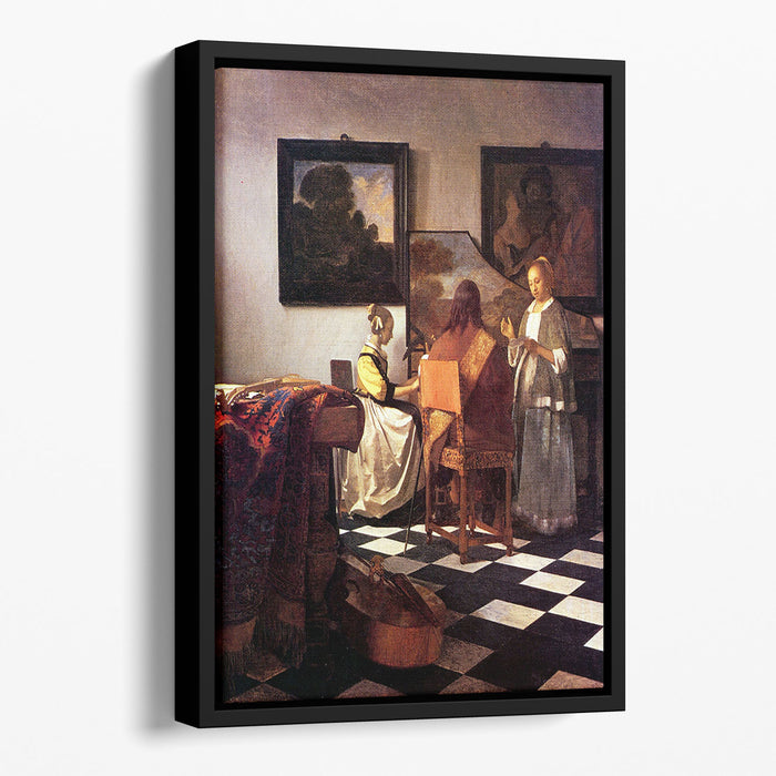 Musical Trio by Vermeer Floating Framed Canvas