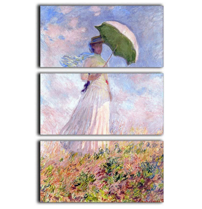 Nainen ja paivanvarjo by Monet 3 Split Panel Canvas Print - Canvas Art Rocks - 1