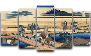 Nakahara in the Sagami province by Hokusai 5 Split Panel Canvas  - Canvas Art Rocks - 1