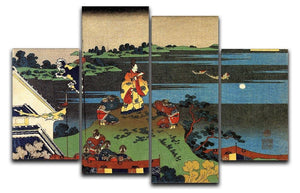 Nakamaro looking at the moon by Hokusai 4 Split Panel Canvas  - Canvas Art Rocks - 1