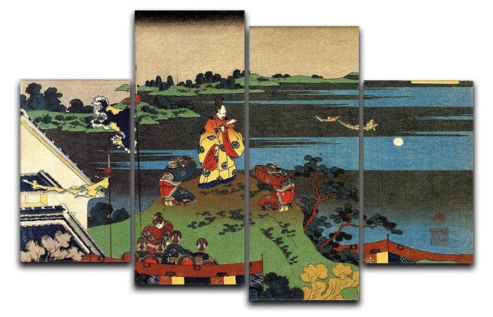 Nakamaro looking at the moon by Hokusai 4 Split Panel Canvas