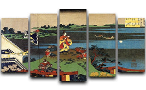 Nakamaro looking at the moon by Hokusai 5 Split Panel Canvas  - Canvas Art Rocks - 1