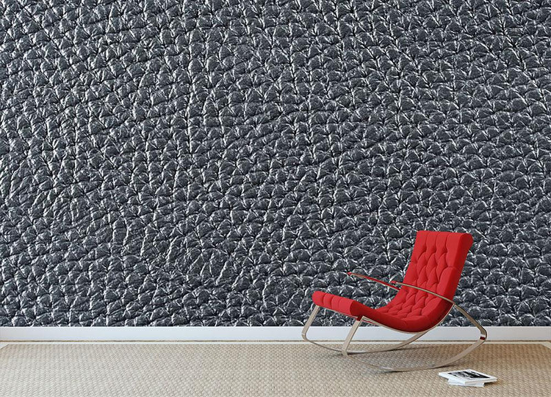 Natural qualitative black leather Wall Mural Wallpaper - Canvas Art Rocks - 1